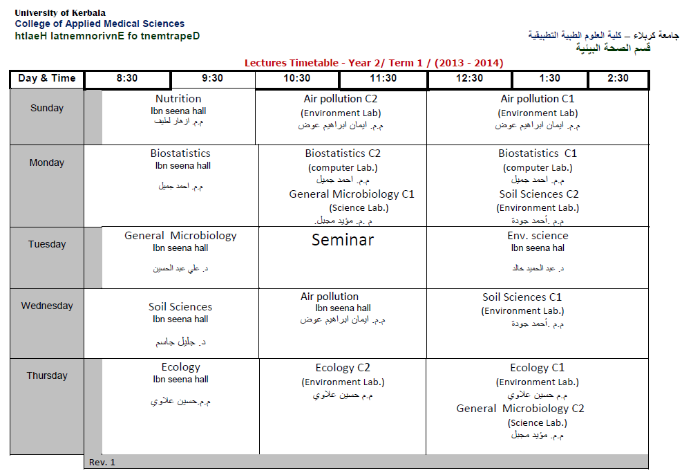 جدول المرحلة الثانية السمستر الاول